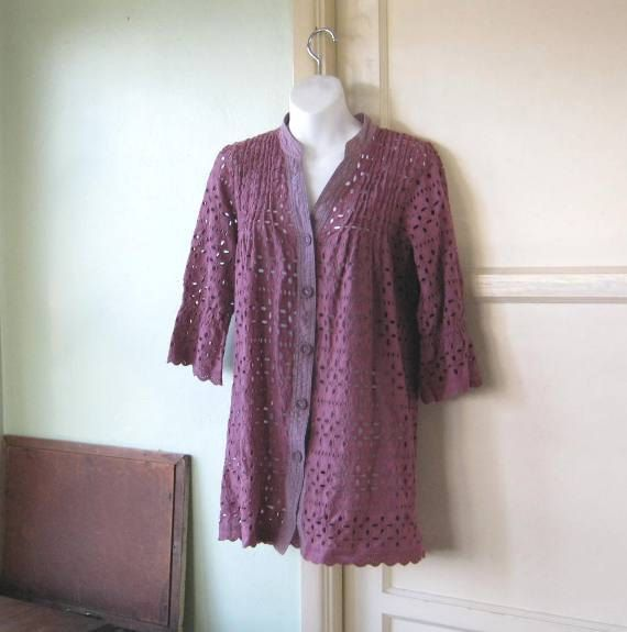 Cut-Out/Lacy Plum Purple Short Cotton Dress/Coat/Cover-Up~Small-Medium Button-Up Bohemian Festival Dress/Craft Fair; Free Ship/U.S. by LittleVintageStories on Etsy