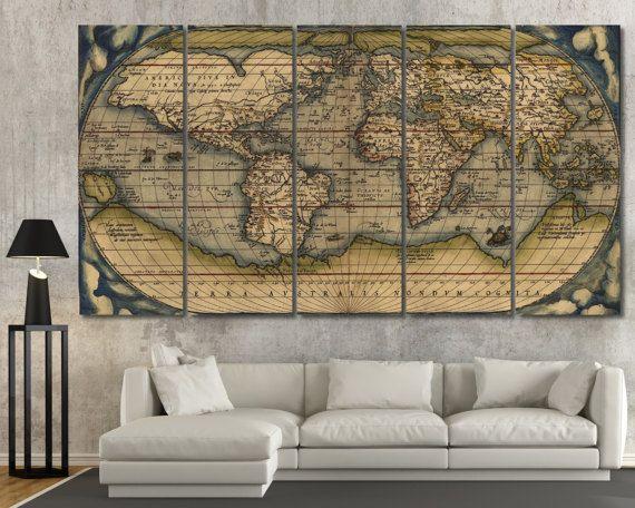 Vintage World Map Wall Art 3 Panel Wall Art 4 Piece Wall Art Etsy World Map Wall Art Map Wall Art Vintage Wall Art