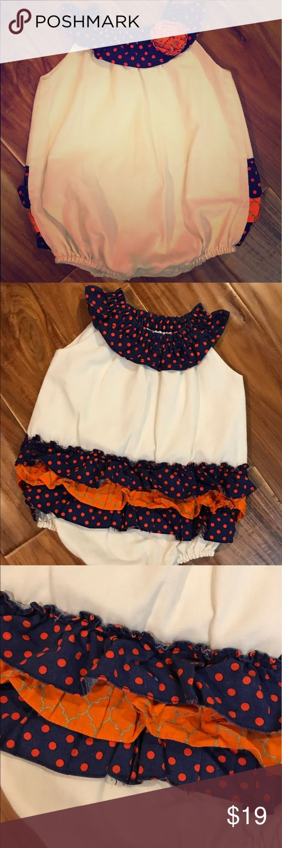 Orange and blue handmade onesie Great auburn game day attire.  Very well made. One Pieces Bodysuits