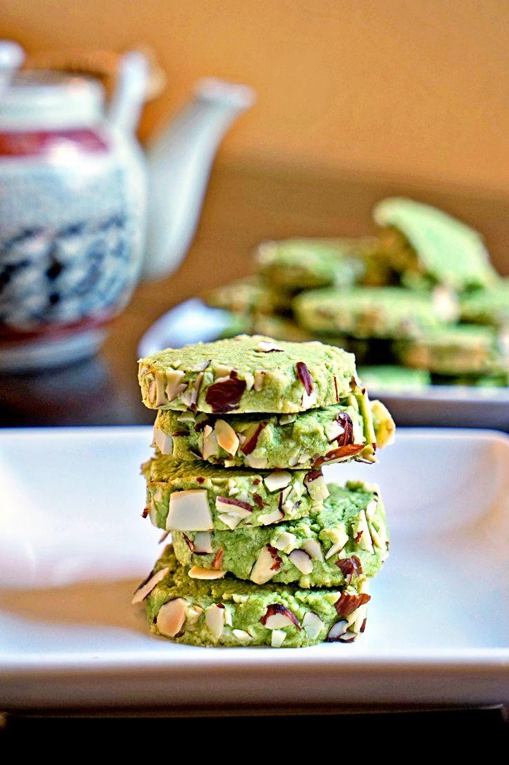 Macha Green Tea Almond Shortbread Cookies