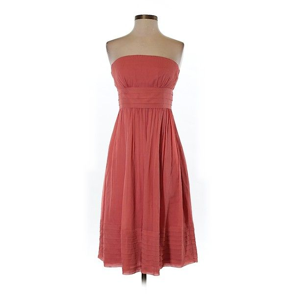 Pre-owned J. Crew Silk Dress Size 2: Coral Women's Dresses ($47) ❤ liked on Polyvore featuring dresses, coral, silk dress, j.crew cocktail dresses, coral cocktail dress, coral dress and j crew dresses