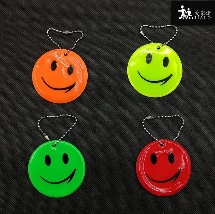 Smile face Reflective Pendant students school bag pendant accessories Reflective keyrings  for visible safety use