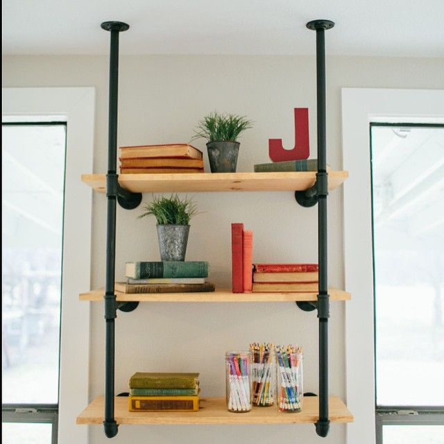 Best Pipes Images On Pinterest Pipes Bookshelves And - Diy build industrial hanging shelf