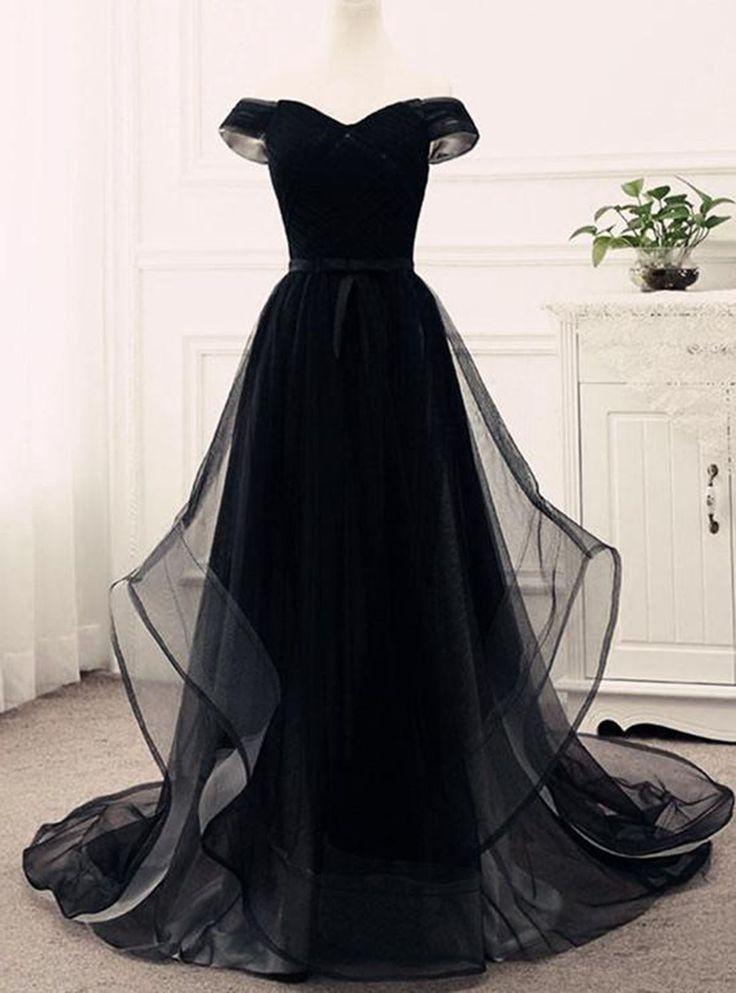 Black tulle sweetheart neck off shoulder customize long ruffles evening dresses #prom #dress #promdress
