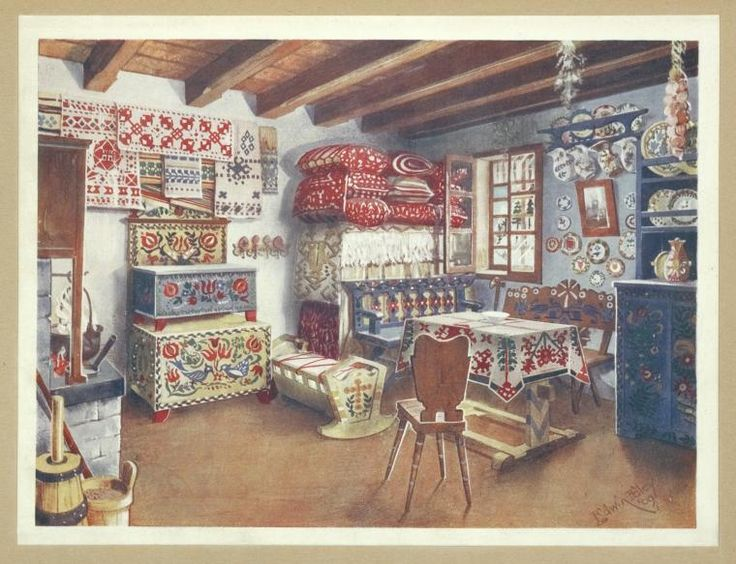 Hungarian Austro-Hungarian peasant furniture. A living room of today furnished with traditional patterns of (at least) eighteenth-... (1910-1911)