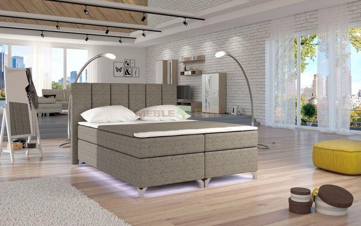 Łóżko Basilio tapicerowane kontynentalne 160x200 lub 180x200 - ELTAP - sklep meblowy Meble BIK