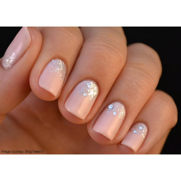 She Nailed It The Glitter Gradient Manicure ❤ liked on Polyvore