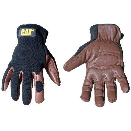 CAT Large Brown Deerskin and Spandex Gloves