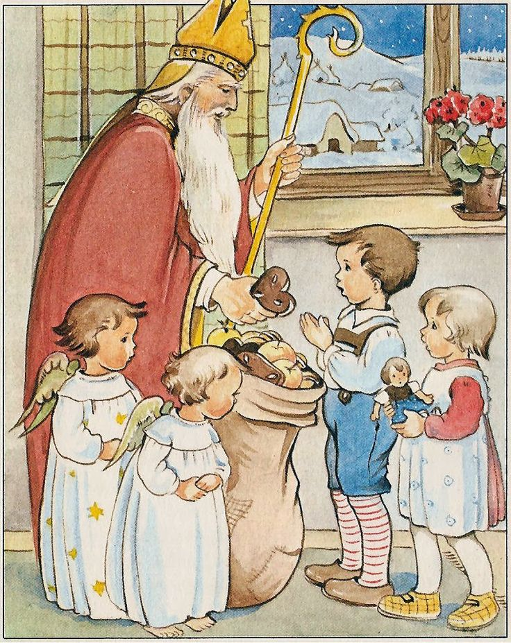 See how reverently the children come to St. Nicholas? Oh, how politely they accept their gifts from him. They love him very much.  >>>ilclanmariapia: illustratoren-kids
