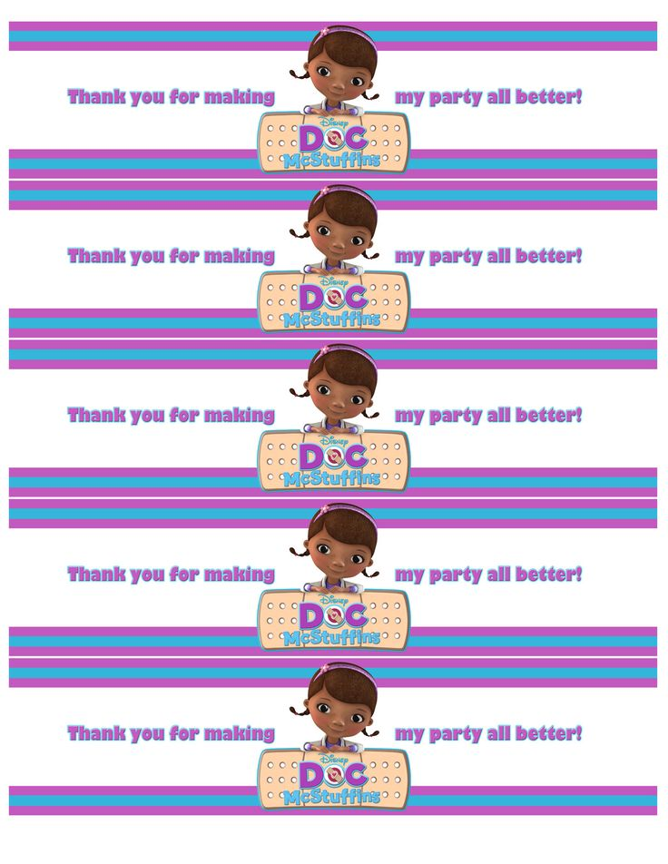 This is a picture of Clever Doc Mcstuffins Printable Labels