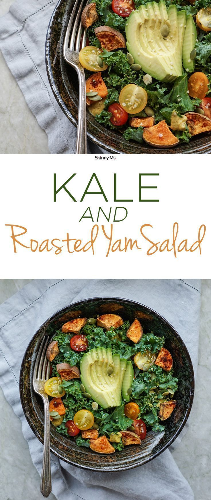 This Kale and Roasted Yam Salad is far from ordinary. The brightly colored veggie dish calls for unconventional salad foods like sweet potatoes to amp up the flavor.