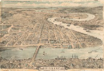 Stunning reproduction of vintage historic illustration of Brisbane, Queensland. A view of Brisbane in 1888, illustrated by Conrad Martens.