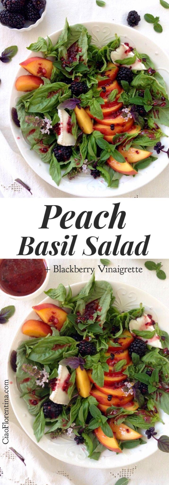 Peach Salad with Basil and Blackberry Vinaigrette Recipe | CiaoFlorentina.com ⭐️⭐️⭐️⭐️⭐️ @CiaoFlorentina