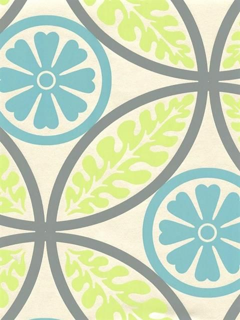 Silver and Blue Circle Fern Wallpaper