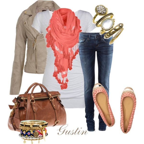 coral scarf, created by #gustinz on polyvore.com