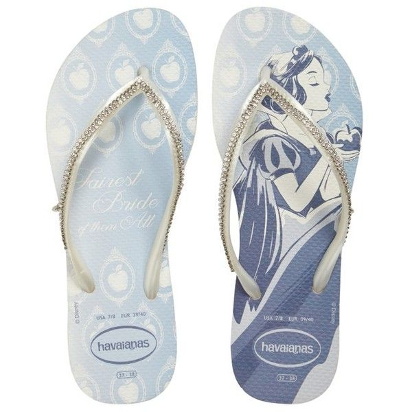 Women's Havaianas Slim Disney Princess Crystal Flip Flop (320 BRL) ❤ liked on Polyvore featuring shoes, sandals, flip flops, strappy shoes, embellished flip flops, monk-strap shoes, embellished sandals and havaianas sandals