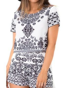 Shop Black Tile Print Short Sleeve Crop Top And Shorts from choies.com .Free shipping Worldwide.$15.99