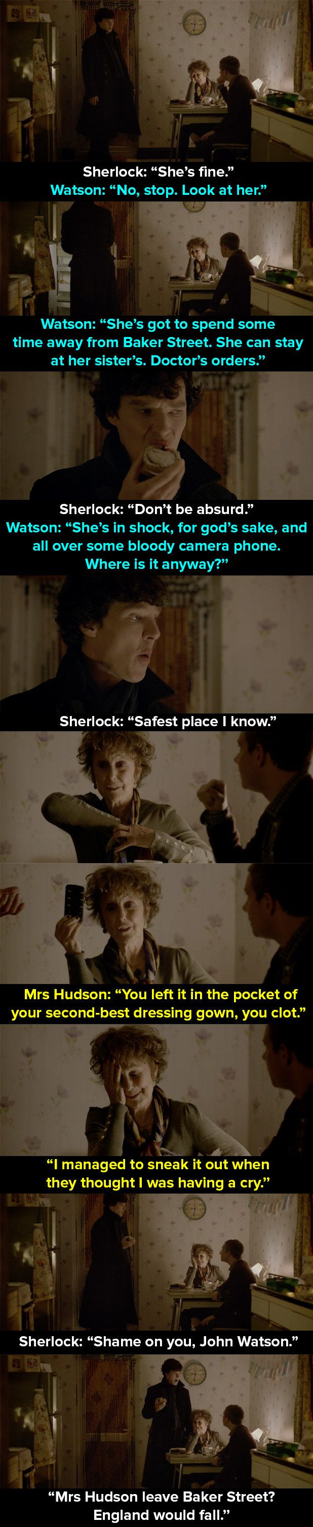 "When Mrs Hudson is held hostage in the apartment. | 14 Times Mrs Hudson Was The Best Thing About ""Sherlock"""