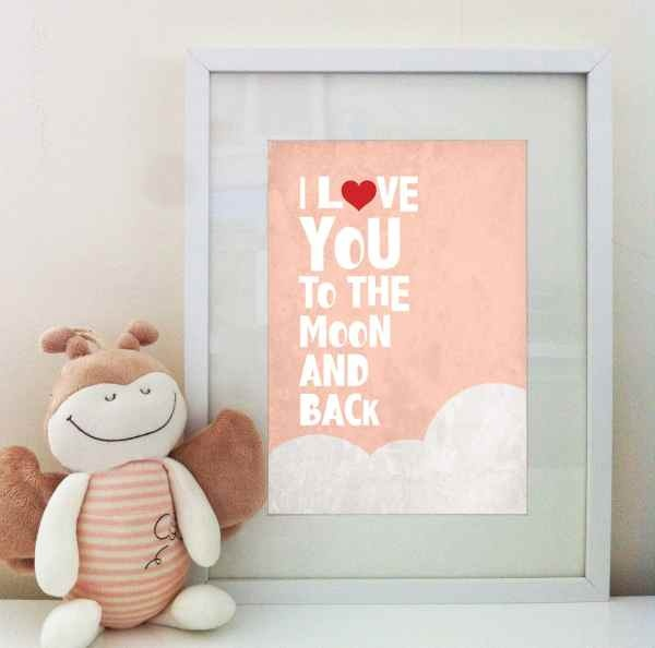 Moon and Back Print - Peach Pink