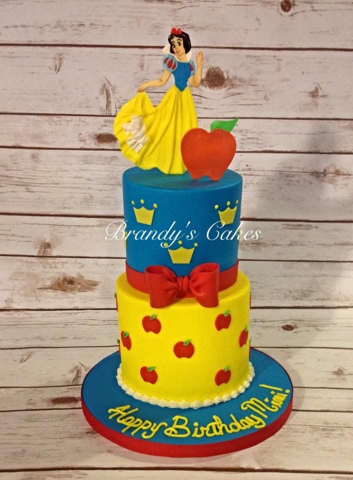 Buttercream Snow White cake with fondant character and deco.  Cake by Brandy's Cakes in Weatherford, TX.