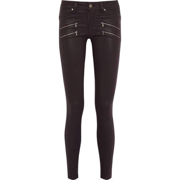 Paige Edgemont coated mid-rise skinny jeans ($145) ❤ liked on Polyvore featuring jeans, pants, paige, pants/jeans, plum, light weight jeans, purple skinny jeans, paige denim skinny jeans, medium rise jeans and plum jeans