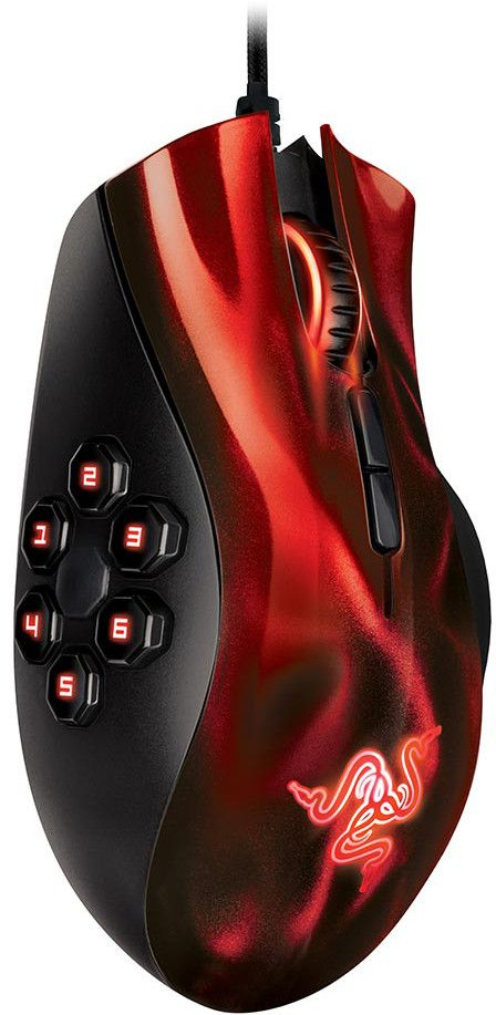 Razer Naga Hex MOBA PC Gaming Mouse - Red - Electronics Vault