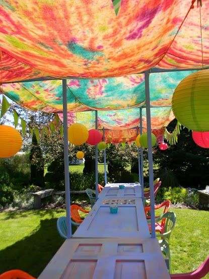 tie-dye and old doors outdoor table outdoor dining
