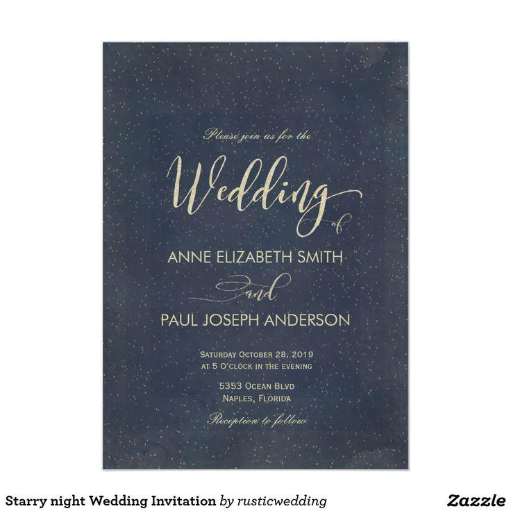 Starry night Wedding Invitation 300 best Glitter