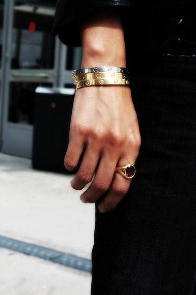 black + gold accessories.