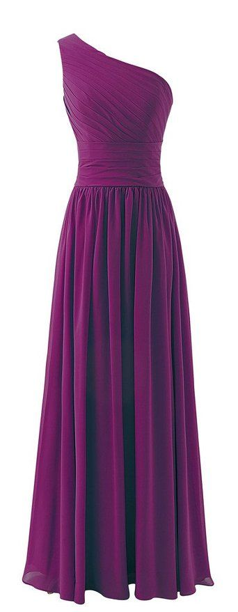 Lovelybride One Shoulder Bridesmaid Chiffon Prom Dresses Long Evening Gowns   Amazon.com