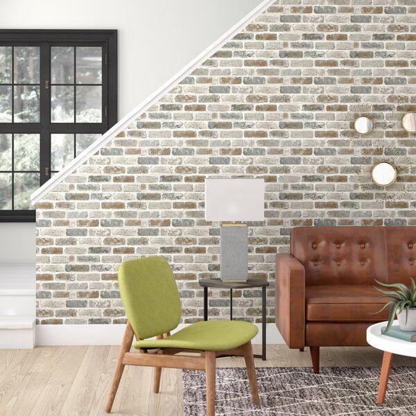 Perla Washed 18 L X 20 5 W Peel And Stick Wallpaper Roll Faux Brick Walls Faux Brick Brick Wallpaper