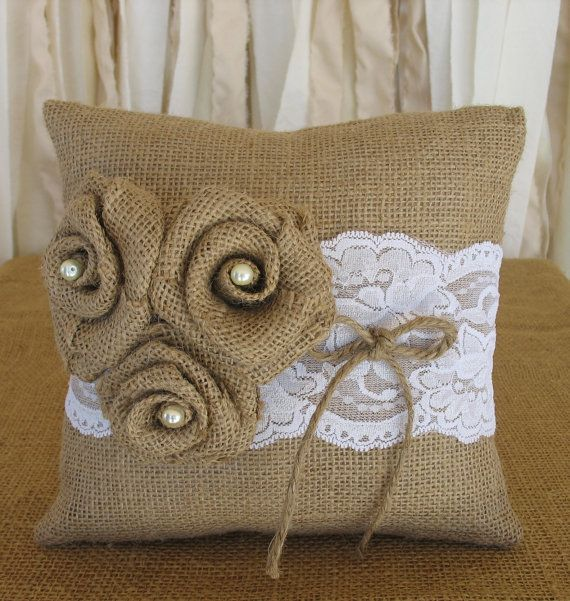 Ring Pillow Burlap Ring Bearer Pillow Wedding by RusticGlamDesigns