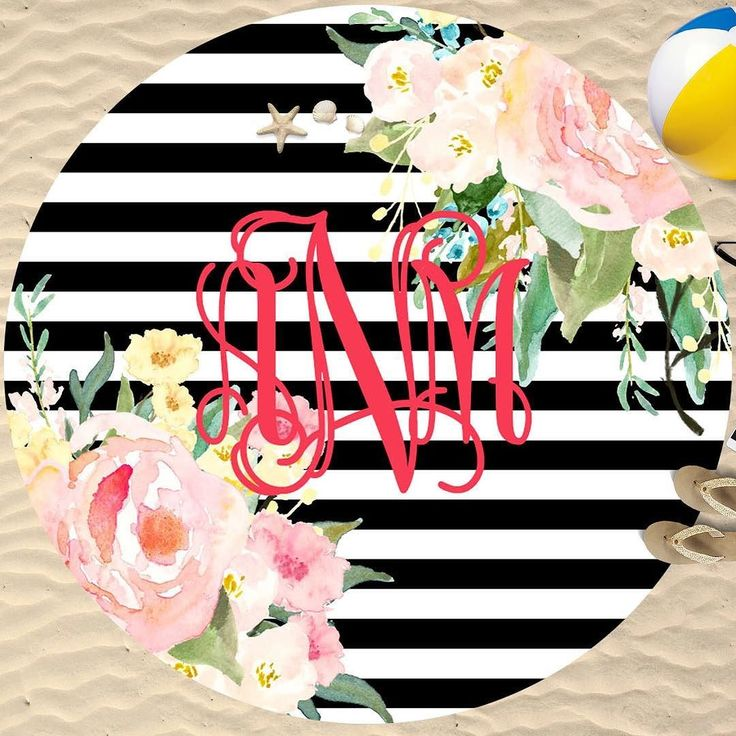 Round towels will be all over the beach this summer! None will be cuter than our monogrammed stripes and florals with your monogram! #sassysoutherngals #roundbeachtowel
