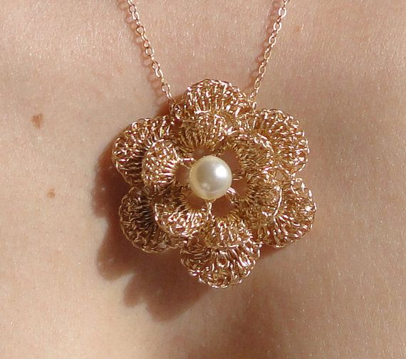 Gold filled crochet wire necklace with flower pendant  by GlamCro, $150.00