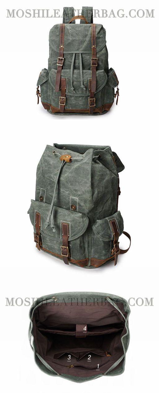 """Vintage Canvas Leather Laptop Backpack College School Bookbag Travel Rucksack 15"""" Waterproof YD5256"""