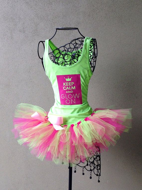 Keep Calm and Glo On Custom Racing Tank and by LuckyNumberTutu (for the Electric Run! just add neon!)