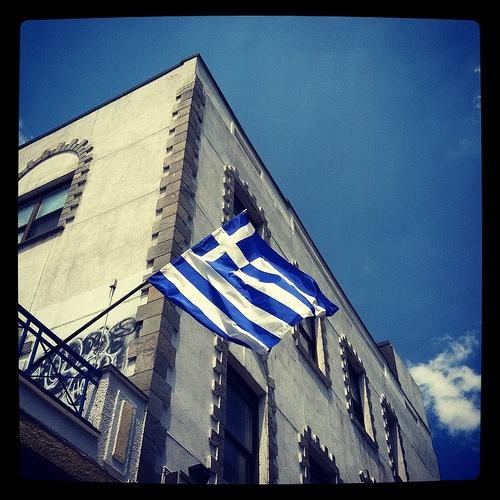 """Simaia"": Greek flag in Astoria, Queens, New York City."