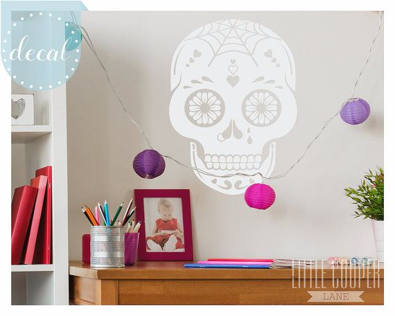SUGAR SKULL Wall Decal Sticker  6 Sizes  Large by LittleCooperLane