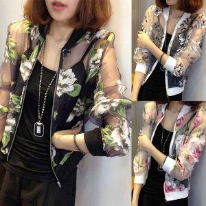 Summer Fashion Women Long Sleeve Floral Zip Coat Organza Sheer Jacket Tops