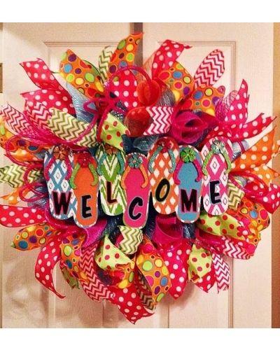 Welcome Summer Flip Flop Wreath | CraftOutlet.com Photo Contest