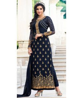 Dashing Blue Georgette Designer Salwar Suit.