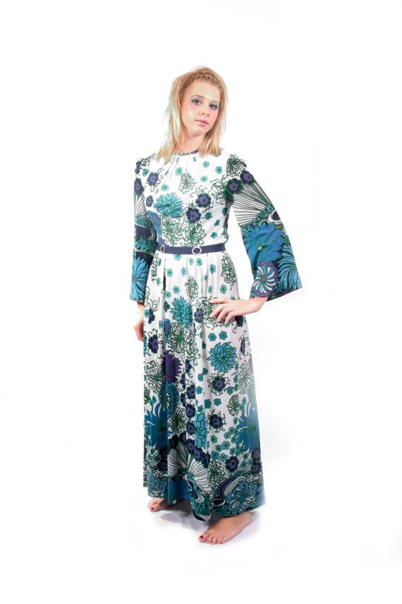 Elmoor of London 70s Floral Print Hippy Festival Maxi Dress