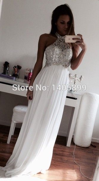 New Arrival Halter Shiny Diamonds Beads Pleats A Line Beaded Sexy White Prom Dress 2015-in Prom Dresses from Weddings & Events on Aliexpress.com | Alibaba Group