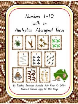 Need to look at this more closely... Numbers 1-10 with an Australian Aboriginal focus includes:* A4 size posters 1-10 with Aboriginal theme images. These can be laminated and mounted on the wall.* 1-10 number tracing.* Count how many objects worksheets 1-10.* Color (US) by number & Colour (AU) by number Rainbow Snake.* 1-10 flash cards (20 cards in total).