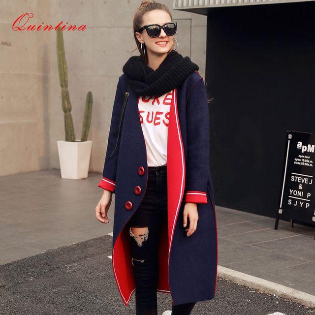Lowest Price $58.03, Buy Quintina 2017 New Fashion Autunmn Women Coat Winter Coat Full Sleeve Manteau Femme V-Neck Slim Female Overcoat Women