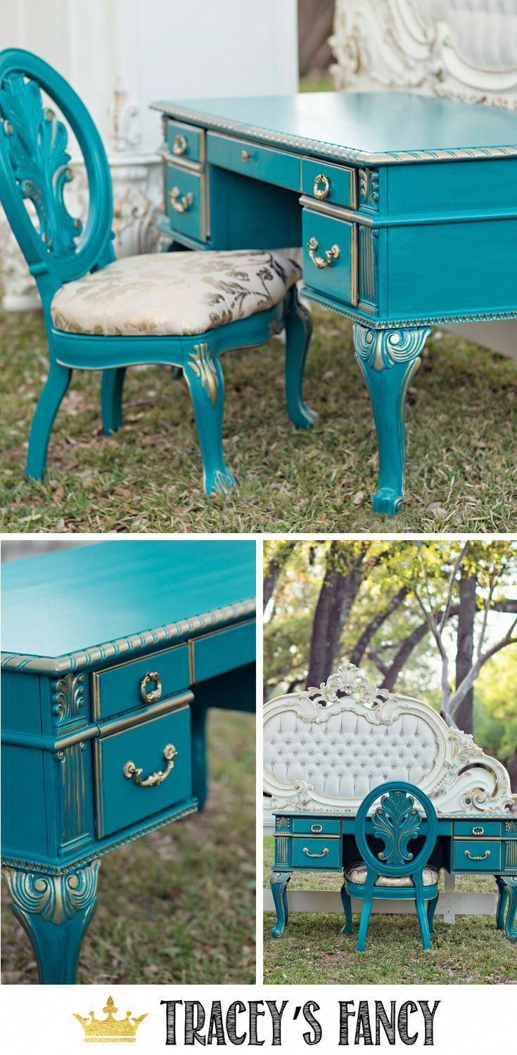 Superieur Gold And Teal Painted Desk By Traceyu0027s Fancy Fancy #Furnituremakeover # Furniture Painted Furniture Ideas #teal Blue Desk #colorful Desk #u2026