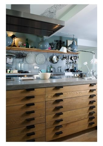 lowinfo polished #concrete worktops working beautifully with wood and an array of blue hues #design #interiordesign