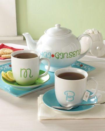 Tea Party personalized monogrammed gift idea DIY Martha Stewart Crafts Glass Paint #DIY #crafts #MarthaStewart