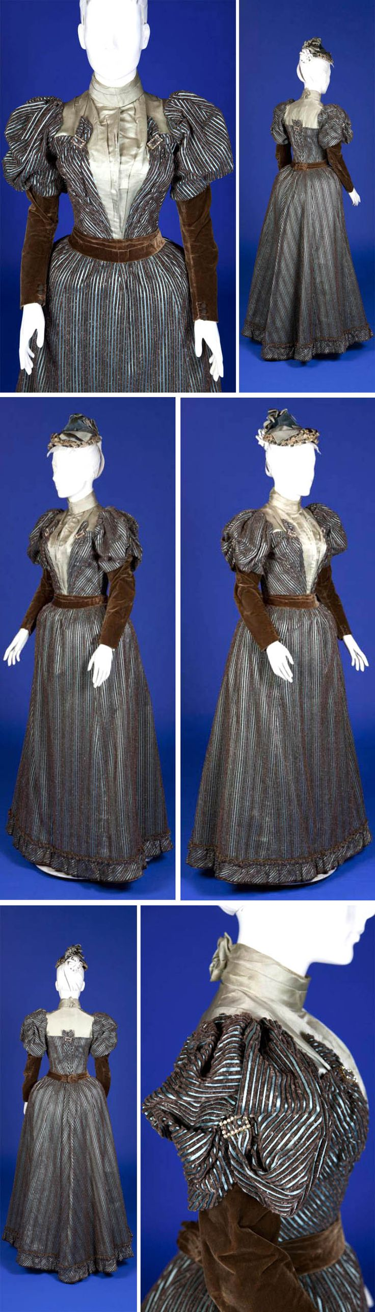 Day dress, 1893. Blue satin and brown cut velvet stripe with brown velvet sleeves and belt and ice blue satin yoke. Five rhinestone rectangular clasps and 6 brown crochet buttons at wrists. Silk lining in both bodice & skirt; hook closure in front of both. Pocket on right side of bustle skirt. Ohio State Univ.