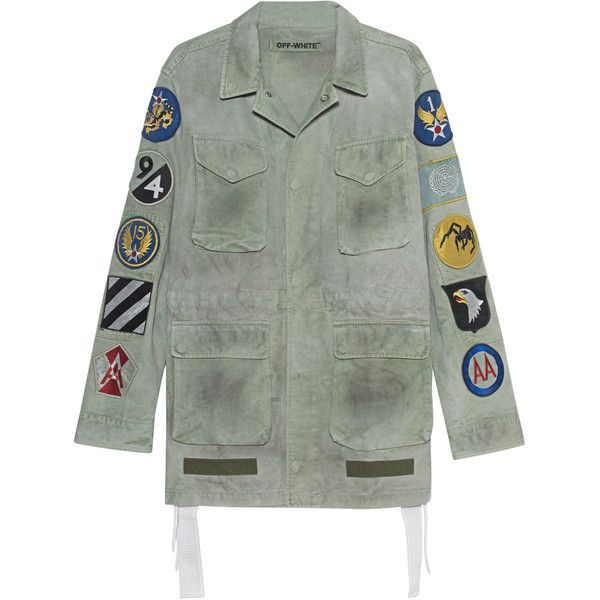 OFF-WHITE C/O VIRGIL ABLOH Field Jacket With Patches Military //... ($1,435) ❤ liked on Polyvore featuring men's fashion, men's clothing, men's outerwear, men's jackets, mens white jacket, mens olive jacket, mens military jacket, mens olive green military jacket and mens green military style jacket